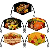 5PC Mix Thanksgiving Anti-Dust Cotton Face_Mask for Adults Adjustable Washable Reusable Breathable Turkey Maple Leaf…