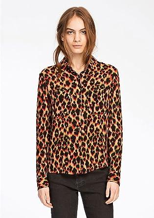3bf6bd69 SAMSOE & SAMSOE - Milly Shirt AOP - Leopard Rouge: Amazon.co.uk ...