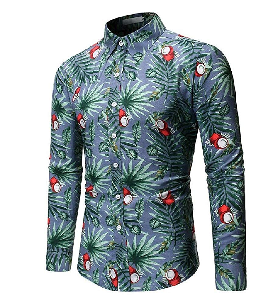 Winwinus Mens Relaxed Floral Long Sleeve Turn Down Collar Dress Shirts