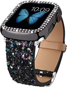 Bling Bands Compatible with Apple Watch Band 38mm 40mm 42mm 44mm + Case, Women Glitter Leather Strap with Bling Diamond Protector Cover for iWatch Series 6 5 4 3 2 1 SE Sport Edition (Black, 40mm)