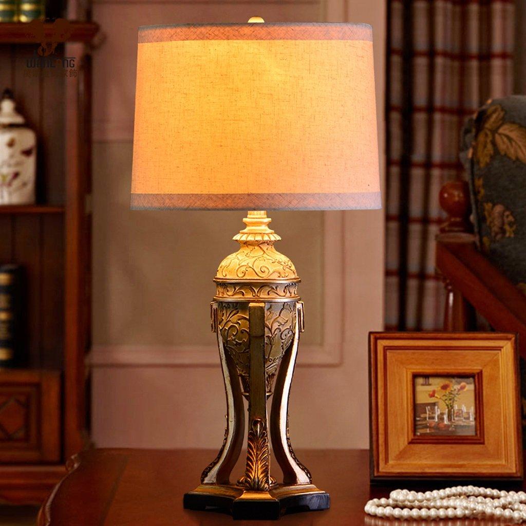 Hanlon E27-Schraubsockel, Tischlampe Warmes kreatives Wohnzimmer Schlafzimmer Nachttischlampe American Country Dekoration Tischlampe ( farbe : Knopfschalter )