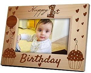 Tied Ribbons '1st Birthday' Photo Frame (Wood, 22.1 cm x 1.27 cm x 17.27 cm, Multicolour)