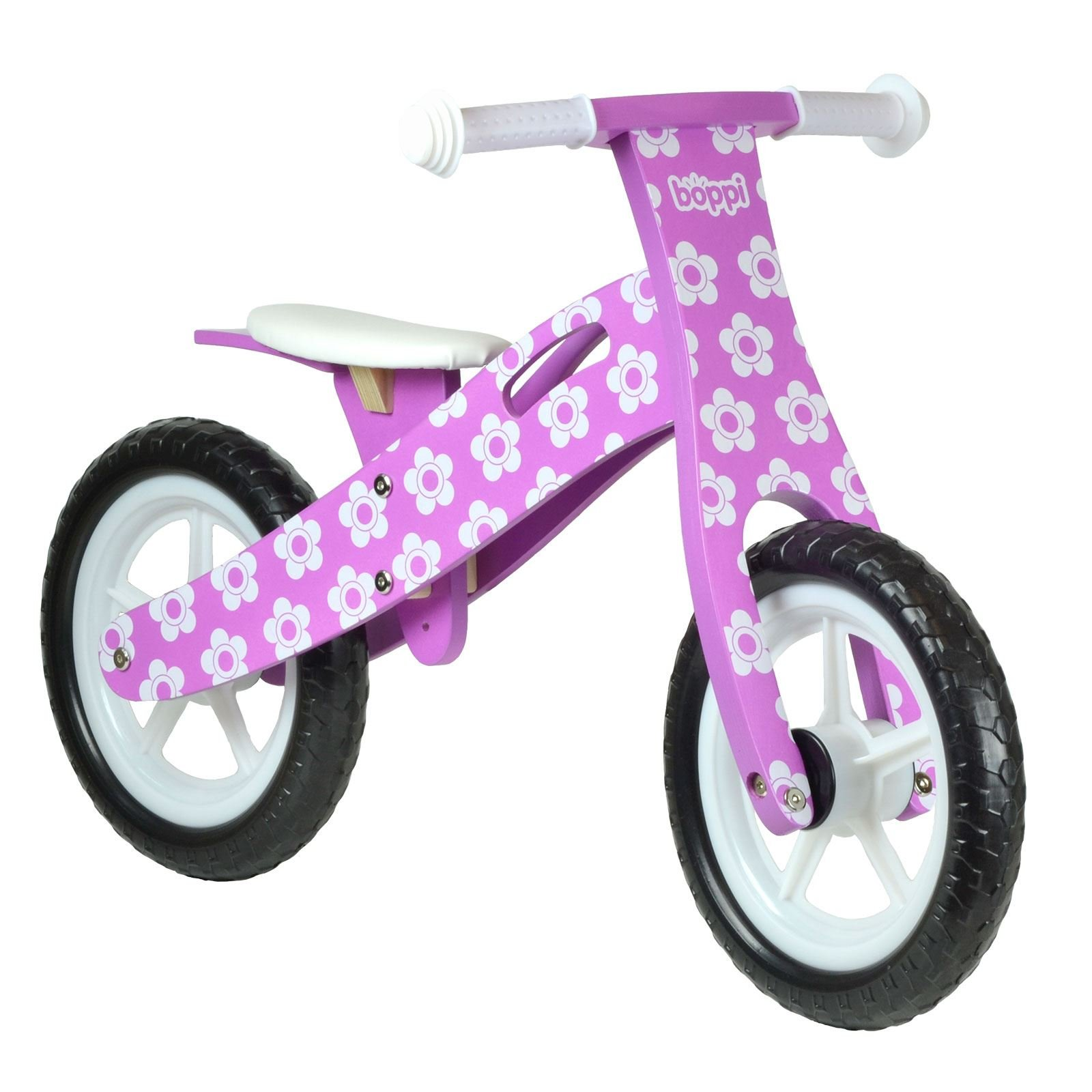 boppi Kids Wooden Balance Bike - 2, 3, 4 and 5 years - Purple Flower
