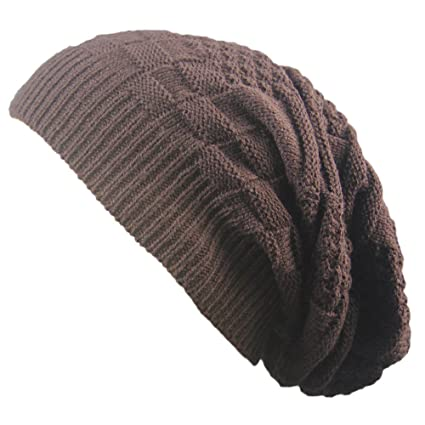 7acf9820 Men Women Knit Baggy Beanie Oversize Winter Hat Ski Slouchy Chic Cap by  Challyhope(Coffee, one-Size) : Electronics