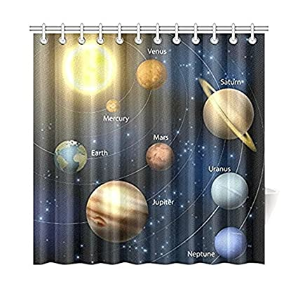 Planetary Orbit For Home Educational Solar System Planets Fabric Shower Curtain Bathroom Sets With Hooks