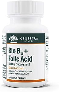 Genestra Brands - Bio B12 + Folic Acid - Vitamin Supplement - 60 Chewable Tablets