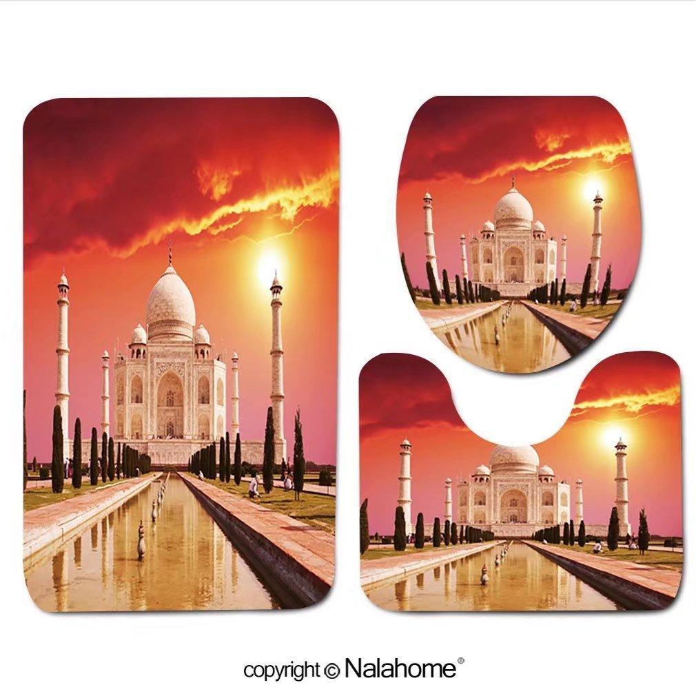 3 Piece Bath Rug Set Nalahome design-4686271 Taj Mahal palace in India on sunrise Bathroom Rug(15.7''x23.62'')/large Contour Mat(15.7''x15.7'')/Lid Cover(15.7''x16.9'')For Bathroom(pink)