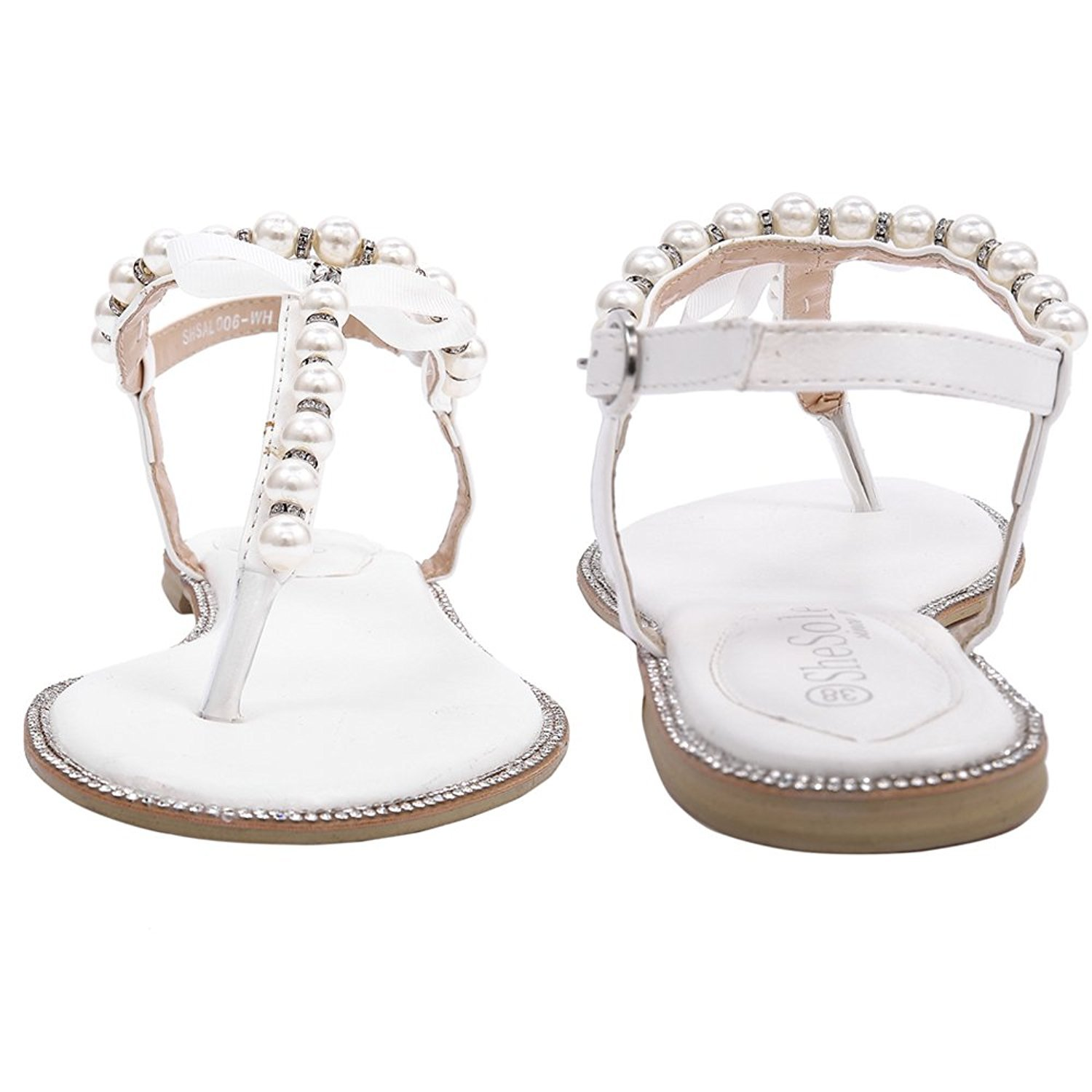 b50def62253e SHOEZY Womens Pu Leather Flat Sandals Wedding Pearls Rhinestone Thong Strap  Gladiator Shoes US 6 White  Amazon.ca  Shoes   Handbags