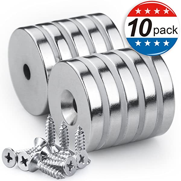 Neodymium Disc Countersunk Hole Magnets with 10 Screws, 1.26D x 0.2H Strong Rare Earth Magnets - Pack of 10