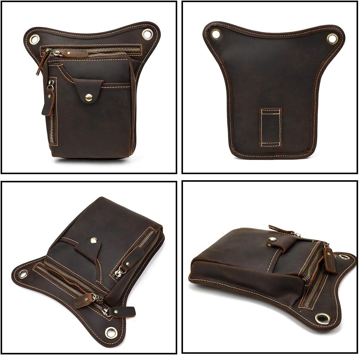 Brown 1 LUUFAN M/änner Echte Leder Multi-Purpose Drop Bein Tasche Motorrad Fahrer Taille Tasche Hip Bum Packung Schultertasche
