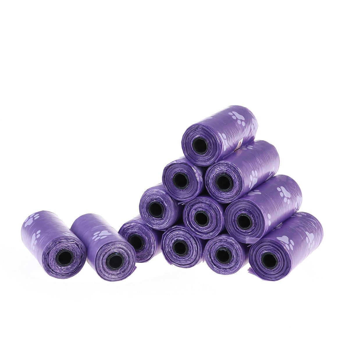 UEETEK Sacs Ramasse-crottes Chien Sacs à Déjections Biodégradables Violet 12 Rouleaux (180 Sacs au Total)