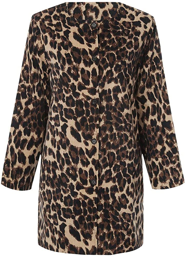 HOMEBABY Womens Winter Warm Parka Classic Leopard Print Jacket Pocket Casual Ladies Thick Coat Long Sleeve Faux Fur Fluffy Fleece Warm-up Cardigan Outwear