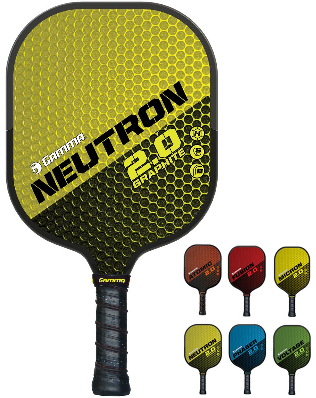 GAMMA Sports 2.0 Pickleball Paddles: Neutron 2.0 Pickleball Rackets - Textured Graphite Face - Mens and Womens Pickle Ball Racquet - Indoor and Outdoor Racket - Yellow Pickle-Ball Paddle - 7 oz by Gamma