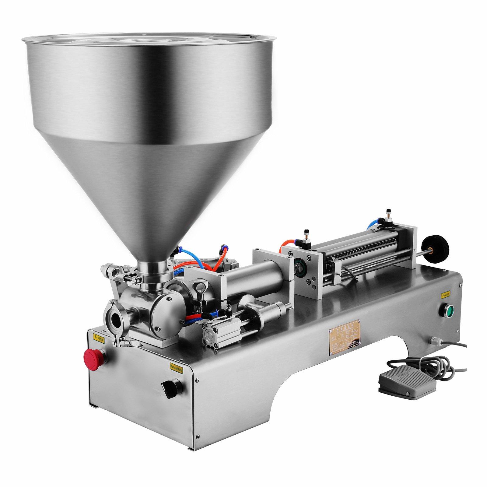Happybuy 50-500ML Pneumatic Liquid Filling Machine 5-25 bottles /min Horizontal Semi-auto Liquid Paste Filling Machine with 30L Funnel for Liquid Paste Oil Cream Shampoo (50-500ML with Funnel)