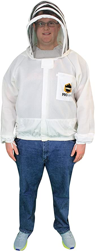 Large MANN LAKE Economy Beekeeper Jacket with Self Supporting Veil