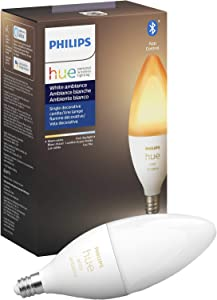 Philips Hue White Ambiance E12 LED Candle Light Bulb, Bluetooth & Zigbee compatible (Hue Hub Optional), Works with Alexa & Google Assistant