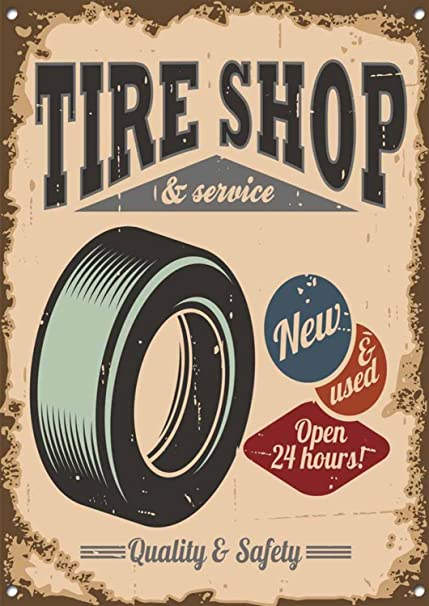Amazon Com Personalized Tire Shop Sign Service 24 Hours Open