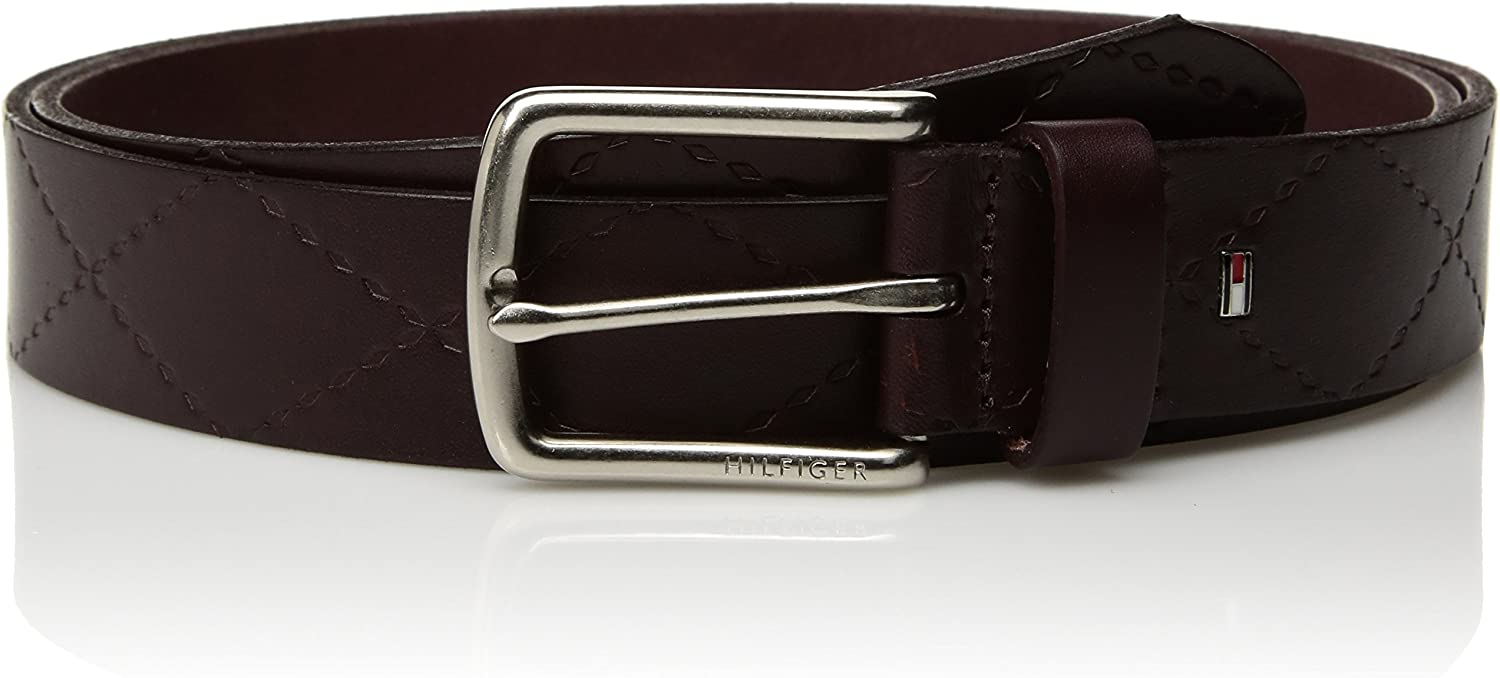 Leather Belts for Men Jeans Khakis with Silver Buckle and Genuine Quality Strap Tommy Hilfiger Mens Dress Belt