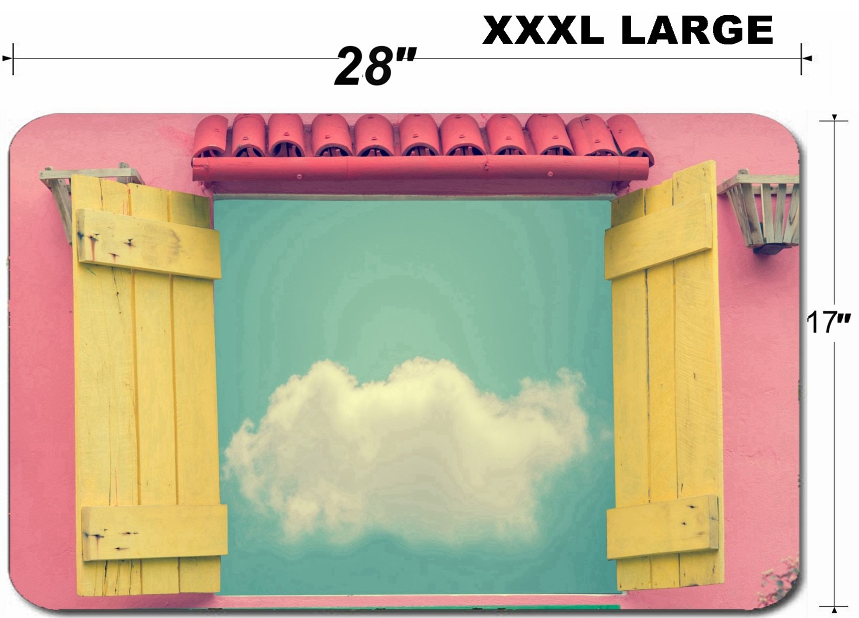 Liili Large Table Mat Non-Slip Natural Rubber Desk Pads IMAGE ID 33694525 Open window in summer day with cloud on blue sky vintage color toned image