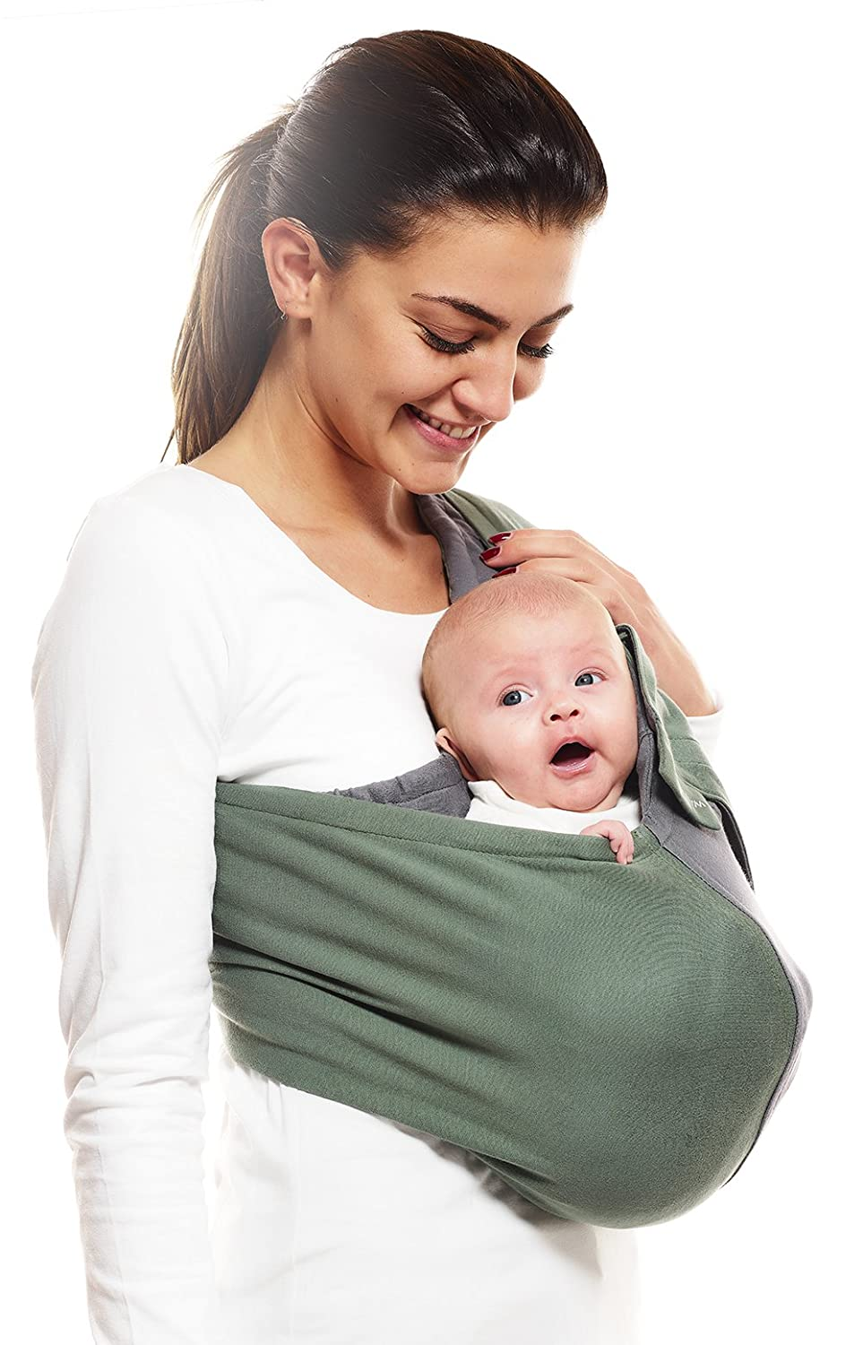 Wallaboo Wrap Sling Carrier Connection, Easy Adjustable, Ergonomic, 3 Carrying Positions, Newborn 8lbs to 33 lbs, Soft Breathable Cotton, 3 Sitting Positions, EU Safety Tested, Color: Black