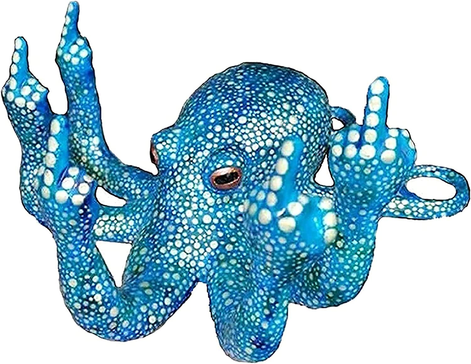 ETEERNVITY Octopus with Mother of Pearl - Multiple Color, Luminous Octopus with Middle Finger, Glow in The Dark Octopus for Home Decoration, Simulation Sea Life Toys (Blue)