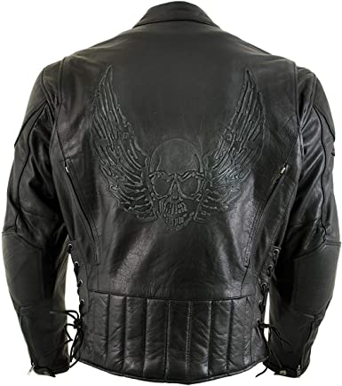 Racer Flying Skull Biker Casuel Wear Distressed Real Leather Jacket