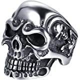 JewelryWe Cool Men's Vintage Stainless Steel Gothic Skulls Ring, Colour Black Silver (with Gift Bag)