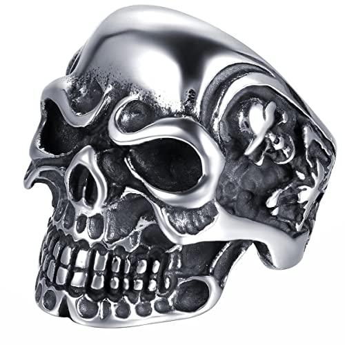 face2a015f9313 JewelryWe Gioielli Anello da Uomo Donna Acciaio Inossidabile Gotico Teschio  Cranio, Colore Nero Argento(