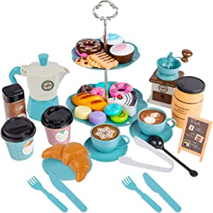 VENSEEN Tea Party Set and Play Dessert 37 PCS Kids Tea Set for Little Girls Age 3 4 5 6 7 8 Indoor Outdoor Pretend Toys Tea Set for Toddlers