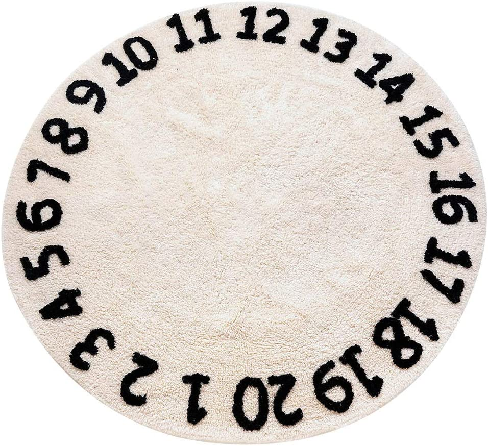 Round Kids Playroom Numbers Rug - Baby Area Rugs for Nursery - Soft Playtime Collection, Home Decor Teepee Tent Circle Carpet, Best Shower Gift (47