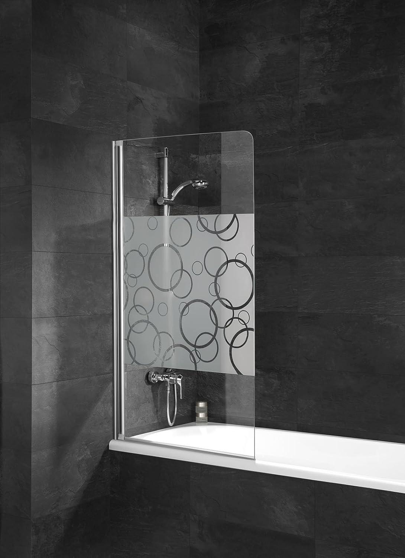 Pare bañera con tapa, pantalla bañera pare-douche, 80 x 140 cm, 1 ...