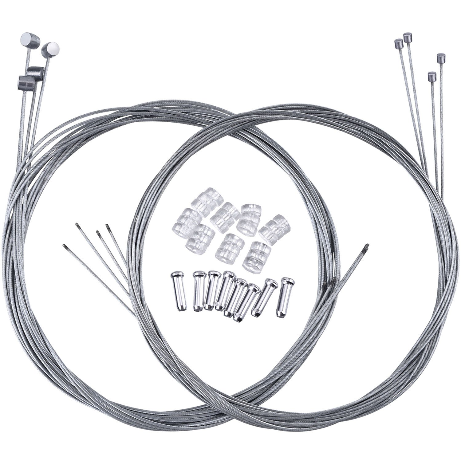 Hotop 2 Set Mountain Bike Brake Cable Gear Cable Wire and Cable End Crimps Kit
