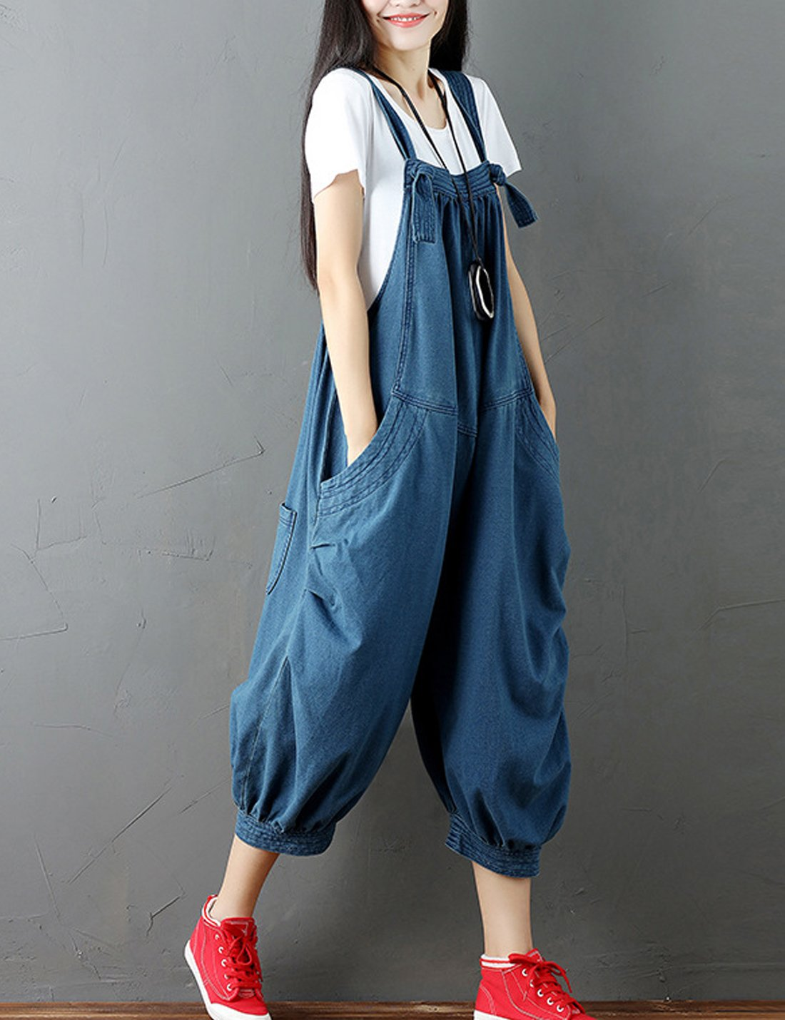32eafd770aa Flygo Womens Loose Baggy Wide Leg Denim Jumpsuits Overalls Rompers Cropped  Harem Pants with Big Pockets