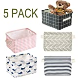 Foldable Storage Bin Basket,Foldable Fabric Storage Receive Basket with Handle Cotton Linen Blend Storage Bins for Makeup, Book, Baby Toy, 7.8 x 6.1 x 5.1 Inch