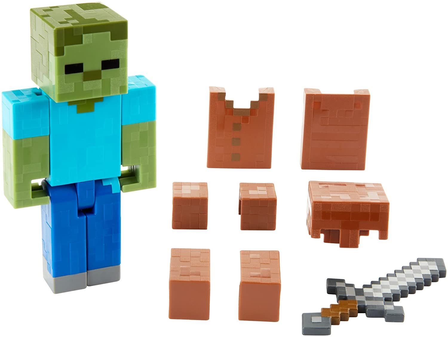 Amazon Minecraft Zombie In Armor Basic Figure 5 Toys Games