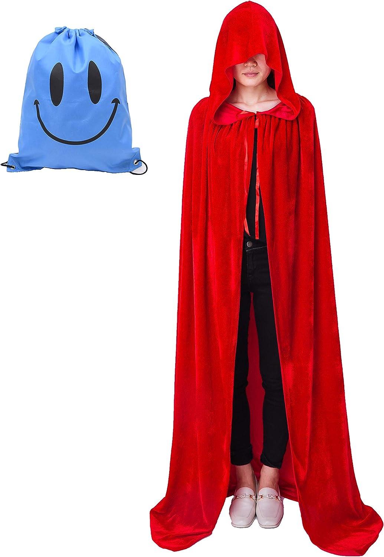 Myir Largo Capa con Capucha, Unisex Adulto Niños Disfraz de Halloween Fiesta Disfraces Vampiro Traje (L, Rojo Terciopelo)