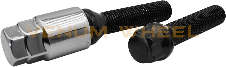 4pc Locking Black Bolts 12x1.5 BMW Lock Steel 33mm Extended Shank Lug Bolts W// 1 Key Included 128i 135i 318i 320i 325i 328i 335i M3 525i 528i 530i 535i M5 Z3 Z4 E36 E46 E60 E90 E92 E93