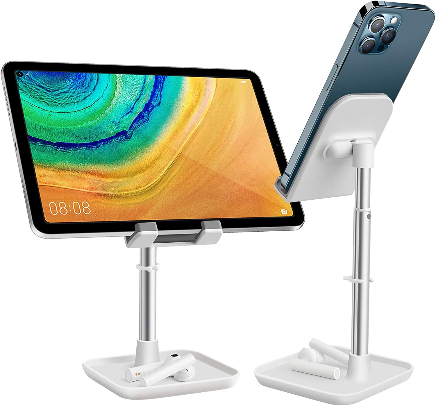 Height Adjustable Cell Phone Stand, Aoviho Desktop Phone Holder Cradle Compatible with iPhone Pro 11 X XR XS MAX 8 7 6 Plus Samsung iPad Mini Nintendo Switch Tablets (4-10