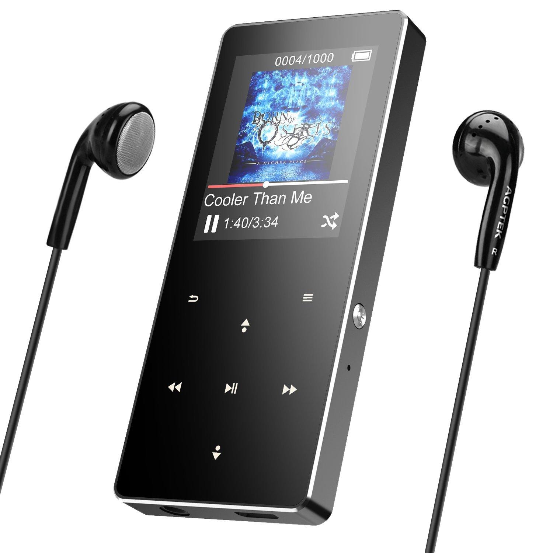 AGPTEK 16Go Haut-Parleur MP3 Bluetooth 4.0 en Mé tal Sté reo Excellent Lecteur Baladeur Sport avec Boutons Tactiles & Bouton de Verrouillage/Enregistrement, Carte Support 128Go-A05ST Argent A05ST-EU