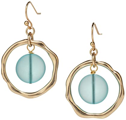 HANDMADE GOLDEN HOOP EARRINGS - TURQUOISE SEA GLASS