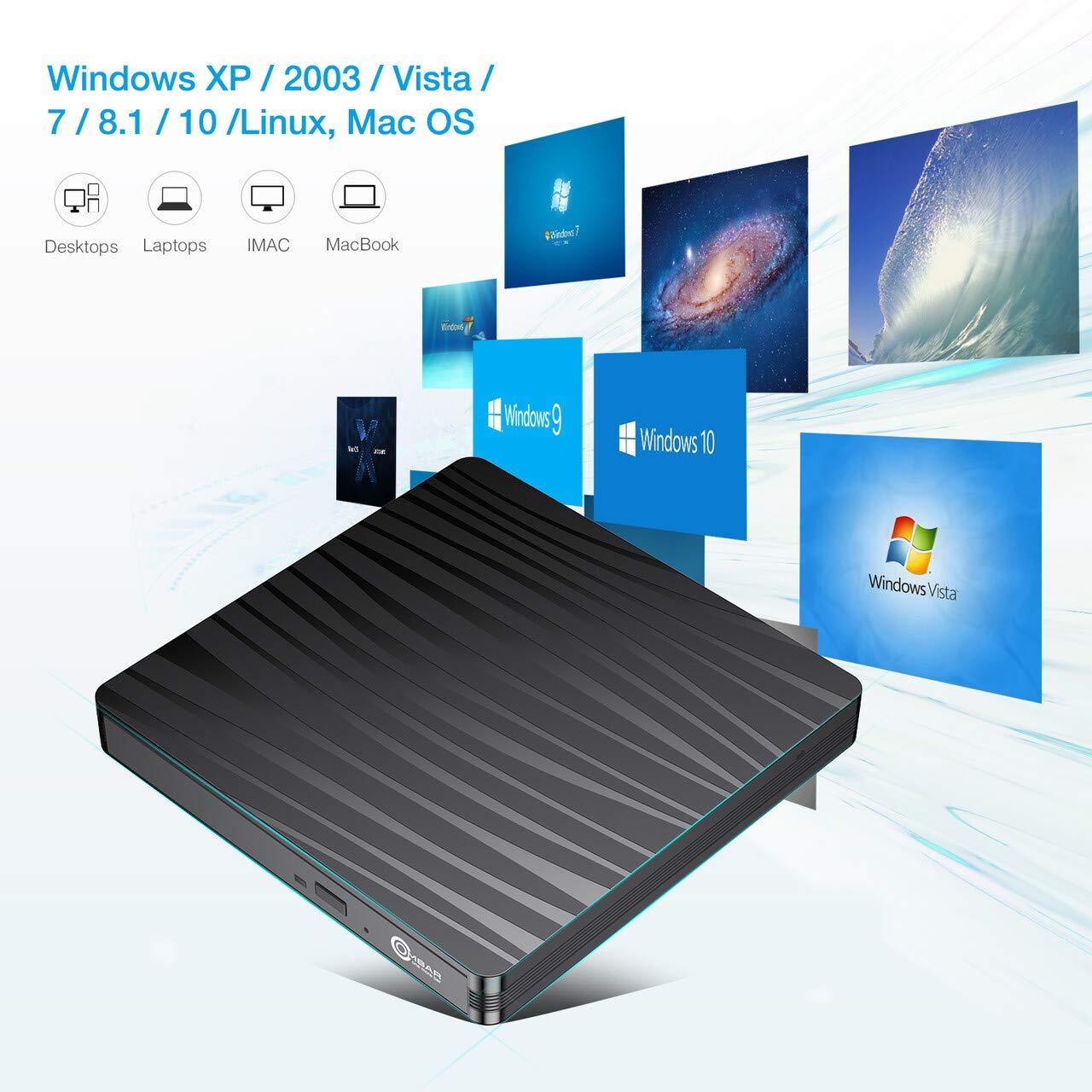 OMBAR Lecteur Graveur CD/DVD Externe, Adaptateur USB Type C/USB 3.0 Enregistreur RW/ROM Ultra Slim Portable pour Windows XP / 2003 / Vista / 7/8.1/10, Linux, Mac OS,etc.