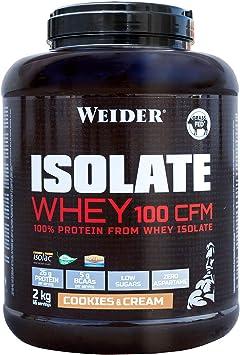 Weider Isolate Whey 100CFM 2000 gr Cookies. 100% aislado de proteina de suero. Cero azúcar, cero aspartamo, con stevia, con dygezime, con BCAA, apto ...