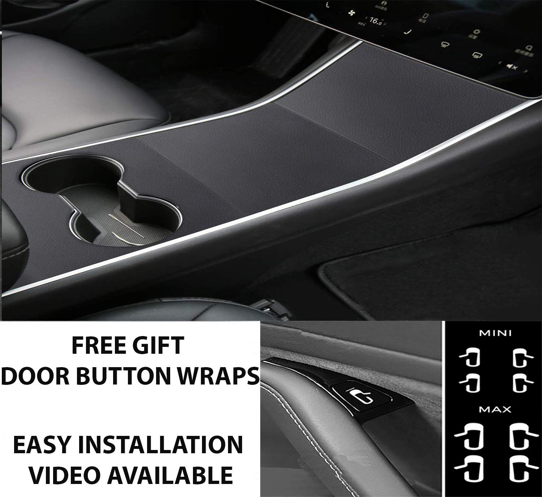 NevaBUY Tesla Model 3 Center Console Wrap Matte Black /& Free Gift Door Button Stickers