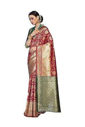 8cd49da02f Amazon.com: Dessa Collections Designer Sarees Jacquard Work Work Banarasi  Silk Saree for Women with Unstitched Blouse Piece. Red, Green: Clothing