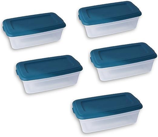 Sterilite 6 Quart de almacenamiento bin caja de zapatos – Corsair azul – Pack de 5: Amazon.es: Hogar