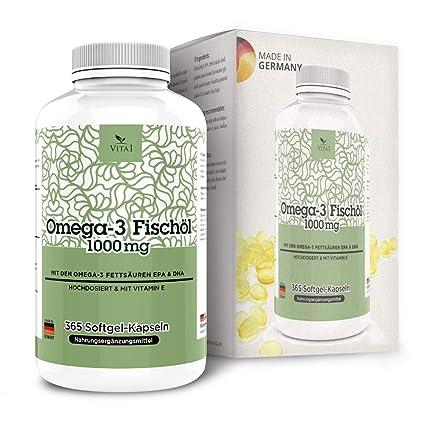 Cápsulas de Omega-3 Aceite de Pescado 1000mg de VITA1 • 365 cápsulas softgel (