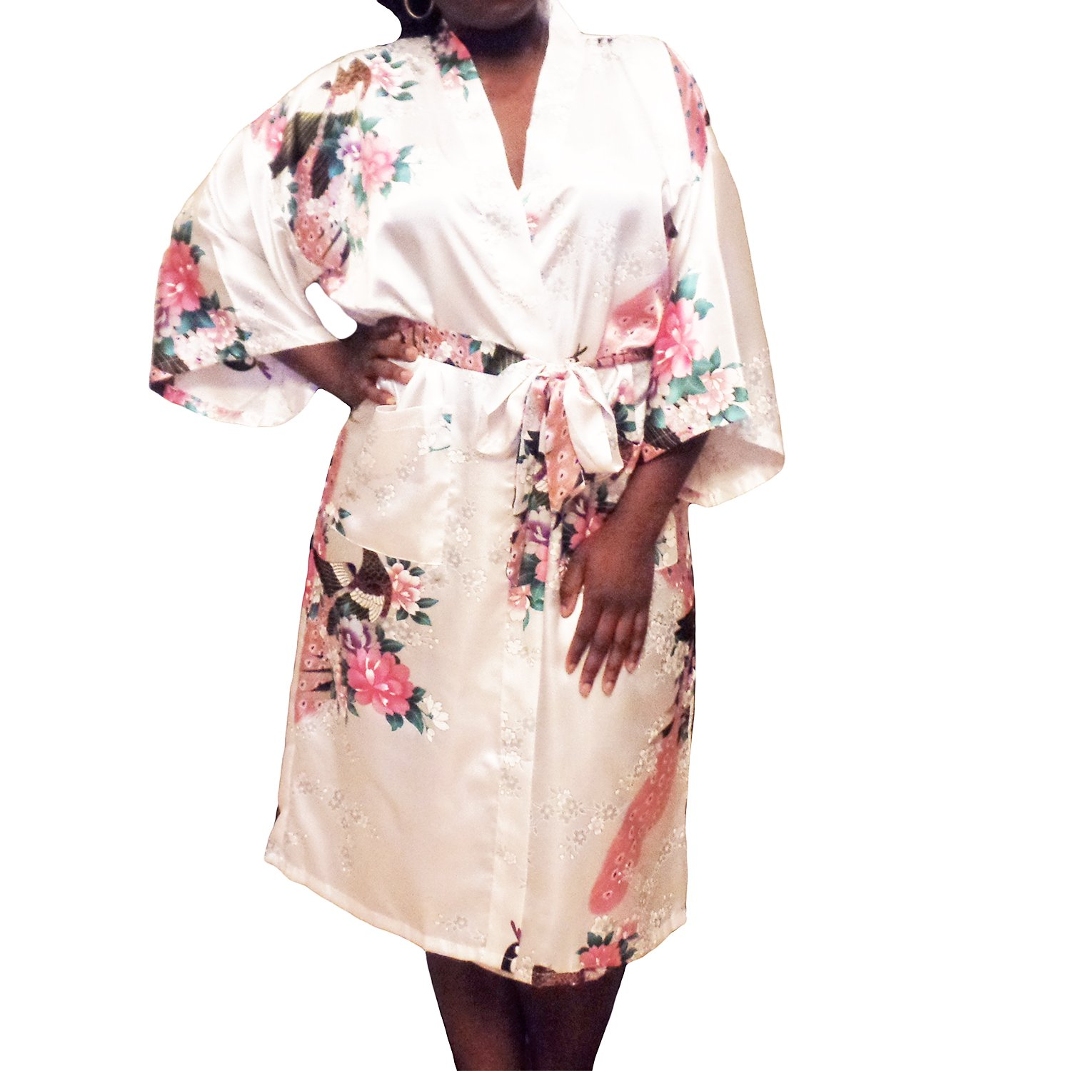 Gifts Are Blue Floral Satin Womens Plus Size Robes, Lightweight, Sizes 20-38, Knee Length (White, 6XL / 28W - 38W)