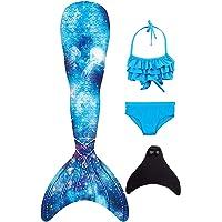Duosilin 2020 Colorido Bikini De Cola De Sirena para Niñas Conjunto 4 Traje De Natación con Aleta