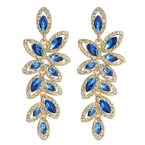 86cd18b1b3b1 Brillar Prom Fiesta Vestir Rhinestones Azul Marquesa Cristal Hojas Cluster  Chandelier Araña Luces Statement Pendientes  Amazon.es  Joyería