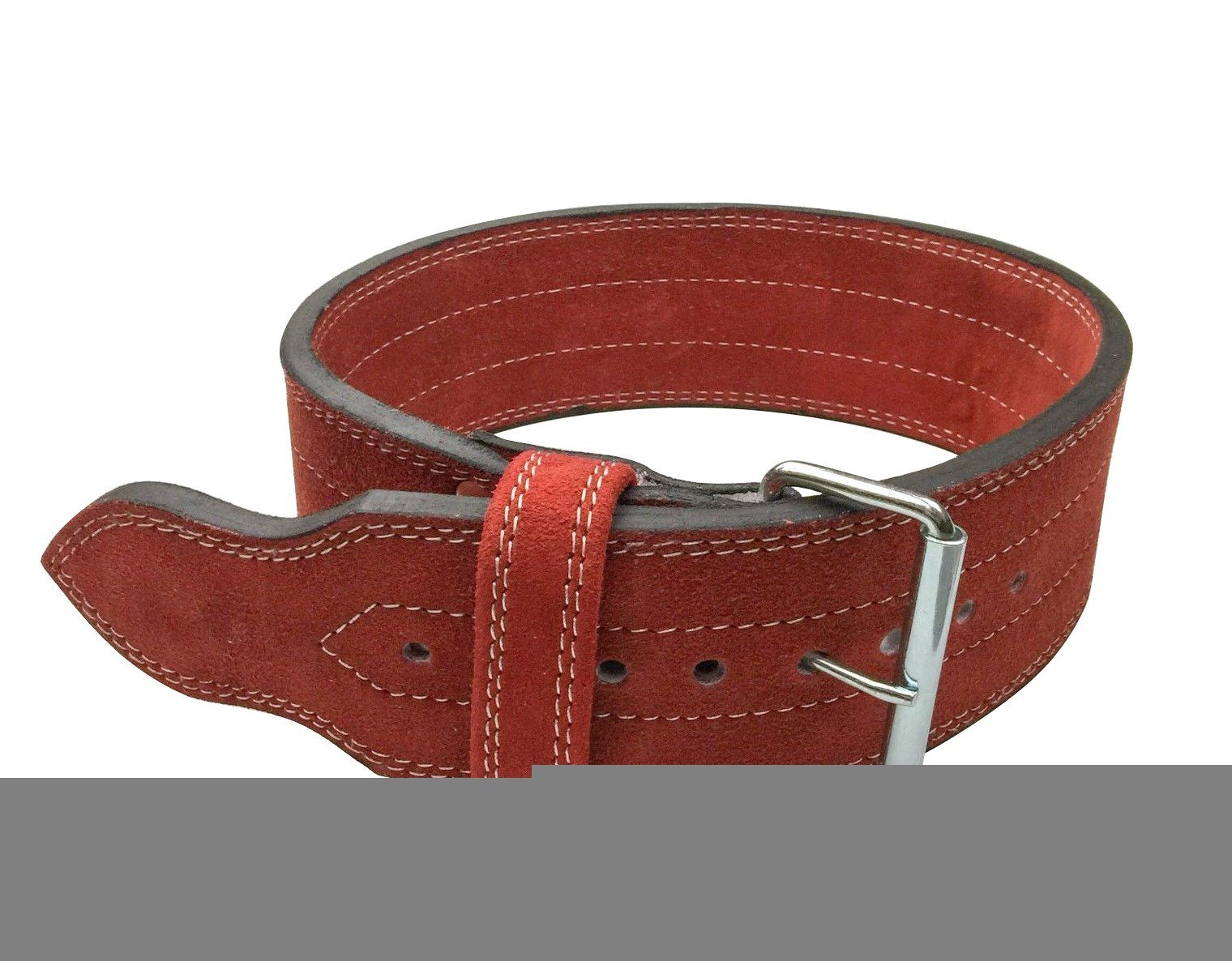 Flexz Fitness Single Prong Closure Powerlifting and Weightlifting Belt, 10mm, Red, Size Large
